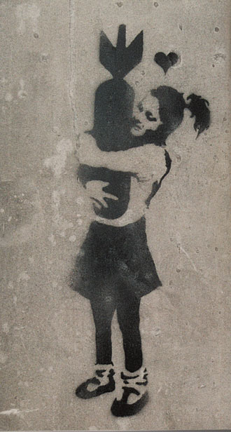 Girl hugging bomb