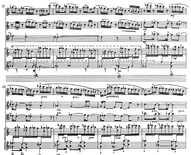 Ausschnitt aus dem Quartett Nr. IV des Mallarmé-Zyklus von Michael Denhoff.…